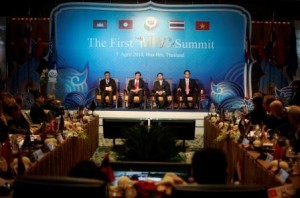 Thailand's Prime Minister Abhisit Vejjajiva and his counterparts from Vietnam, Cambodia and Laos sit in their chairs during the Mekong River summit in Hua Hin