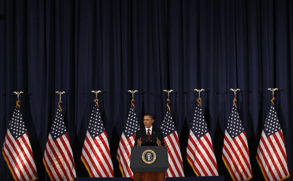 President Barack Obama speaks about the conflict in Libya during an address at the National Defense University on March 28, 2011.