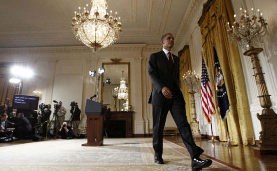 President Barack Obama leaves the East Room after making a statement about the situation in Libya on March 18, 2011.