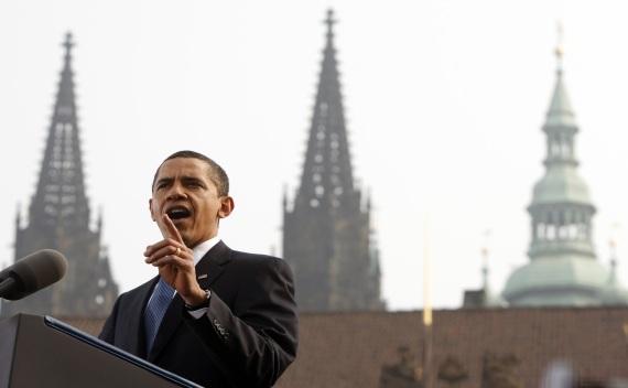 U.S. President Obama delivers speech in Hradcany Square in Prague on April 5, 2009 (Jason Reed/Courtesy Reuters).