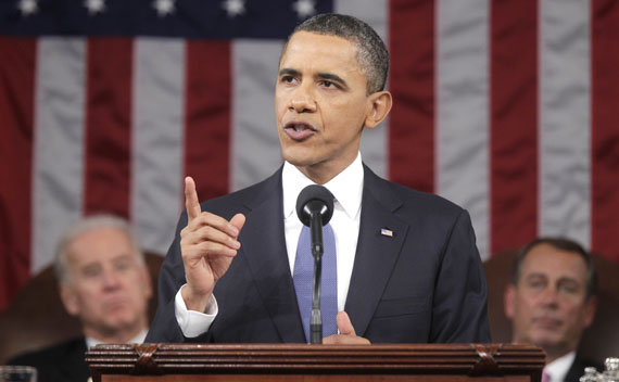 President Barack Obama delivers his State of the Union address on Capitol Hill in Washington.