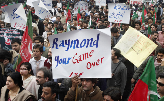 Protesters rally against American Raymond Davis in Lahore, Pakistan on February 3, 2011.