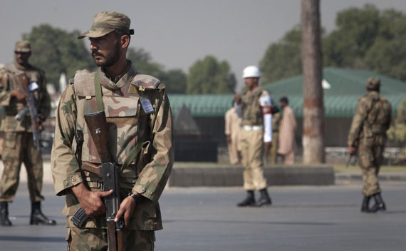 Armed soldiers stand guard outside Pakistan's army headquarters in Rawalpindi