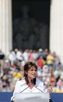 Sarah Palin addresses Glenn Beck's Restoring Honor rally on the National Mall in Washington