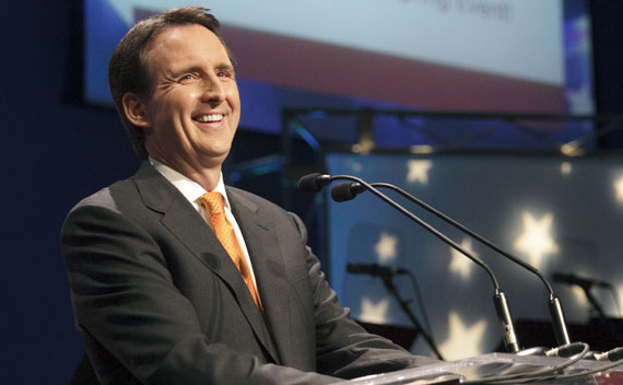 Tim Pawlenty speaks during the Iowa Faith & Freedom Coalition's Spring Event at Point of Grace Church in Waukee, Iowa on March 8, 2011.