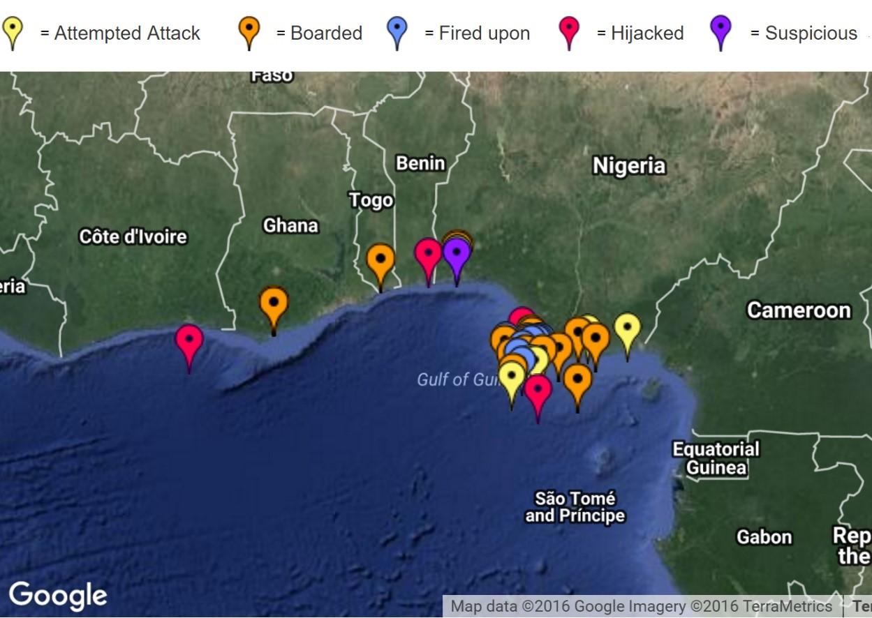 2016 Gulf of Guinea attacks reported by International Maritime Bureau.