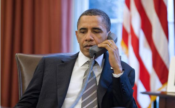 President Obama on the Phone