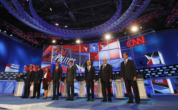 Republican presidential hopefuls take the stage before the Tea Party Republican presidential candidates debate in Tampa, FL (Scott Audette/courtesy Reuters)