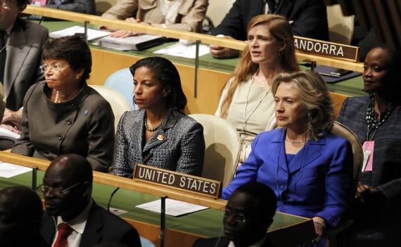 White House senior advisor Jarrett, U.S. Ambassador to the UN Rice and U.S. Secretary of State Clinton listen as U.S. President Obama speaks at the United Nations General Assembly on September 23, 2010 (Jason Reed/Courtesy Reuters)