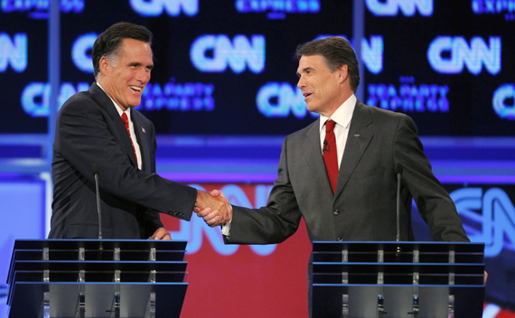 Mitt Romney and Rick Perry shake hands at the conclusion of the CNN/Tea Party Republican presidential candidates debate in Tampa, September 12. (Scott Audette/ courtesy Reuters)