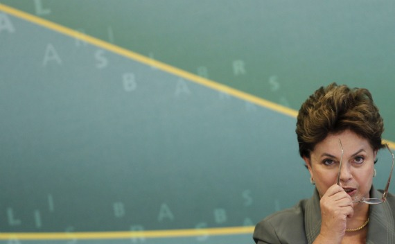 Brazil's President Dilma Rousseff at a meeting for the Growth Acceleration Program 2 in Brasilia