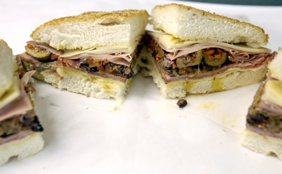 A muffuletta sandwich before being served in Metairie, Louisiana (Lucas Jackson/Courtesy Reuters).