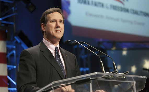 Rick Santorum speaks during the Iowa Faith & Freedom Coalition's Spring Event in Waukee, Iowa March 7, 2011.