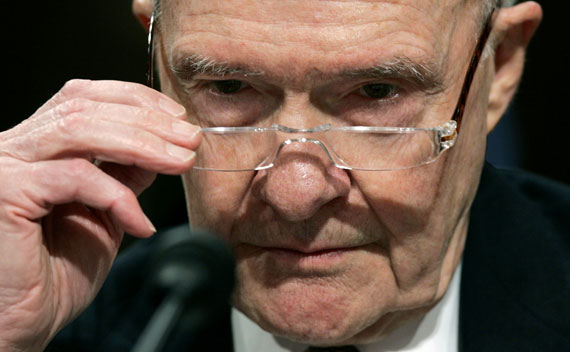 Former National Security Advisor Brent Scowcroft testifies before the Senate Foreign Relations Committee on Capitol Hill in 2007.