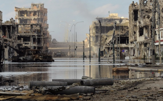 A view of the street after a violent clashes between Libyan interim government forces and loyalists of Muammar Gaddafi in Sirte on October 18, 2011 (Esam Al-Fetori/Courtesy Reuters).