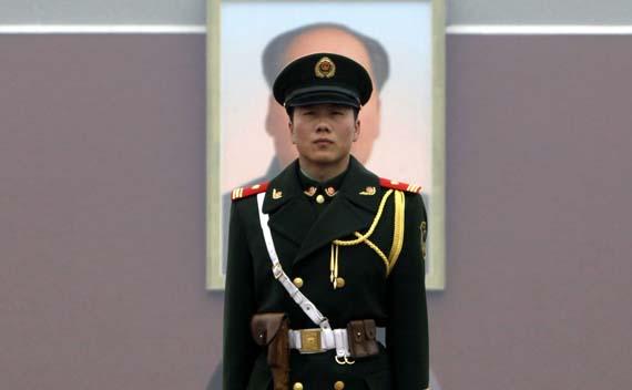 Soldier Standing Post in Front of Tiananmen