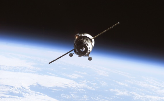 An unmanned Progress supply vehicle approaches the International Space Station on April 7, 2010 (Courtesy Reuters/NASA)