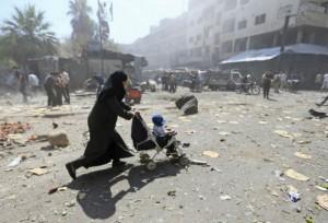 Syria-woman-displaced-airstrike-Douma-Assad
