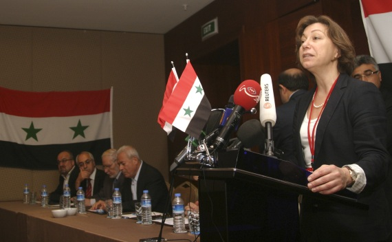 Syrian National Council spokeswoman Basma Qadmani gives her address during a meeting in Istanbul on October 2, 2011 (Stringer Turkey/Courtesy Reuters).