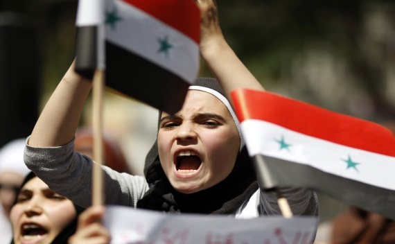 A Syrian shouts slogans during protest against government of Syria's President Assad (Osman Orsal/Courtesy Reuters).
