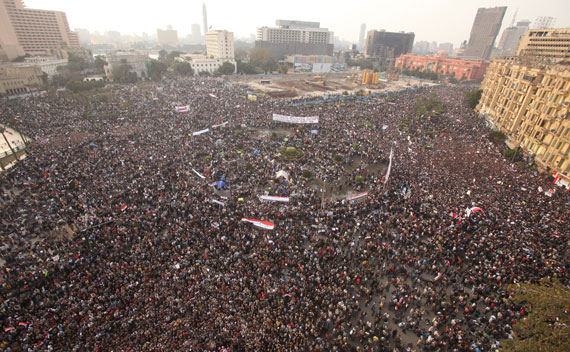 Protesters take part in an anti-Mubarak protest at Tahrir square in Cairo.