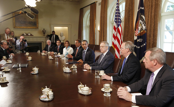 President Obama hosts a meeting with congressional leaders to discuss ongoing efforts to find a balanced approach to deficit reduction in the Cabinet Room of the White House in Washington July 7, 2011. (Larry Downing/ courtesy Reuters)