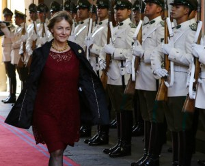 Vesna Pusic walks past an honor guard before a meeting with Chile's President Michelle Bachelet at the UN World Summit Meeting on Women and Power. REUTERS/Ivan Alvarado