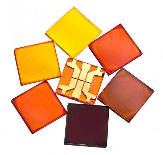 Solar perovskites on glass—researchers can vary the color and transparency of the coatings, enabling new applications.