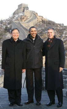 President Obama poses with then Chinese ambassador to U.S. Zhou and U.S. ambassador to China Jon Huntsman at the Great Wall of China