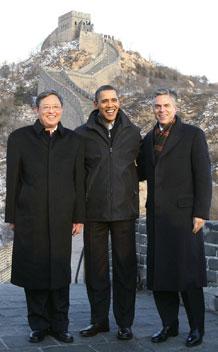 President Obama poses with then Chinese ambassador to U.S. Zhou and U.S. ambassador to China Jon Huntsman at the Great Wall of China