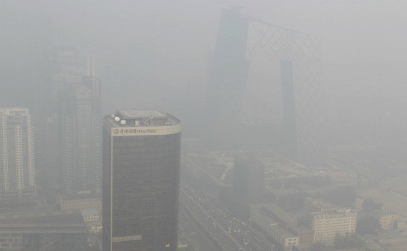 Buildings in Beijing are pictured on a recent day with heavy haze and smog.