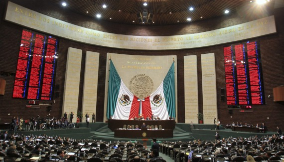 Mexico's Chamber of Deputies in session over the immunity of fellow congressman Julio Cesar Godoy (Stringer / Courtesy Reuters).
