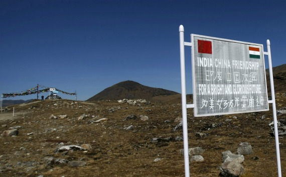 A signboard is seen from the Indian side of the Indo-China border at Bumla, in the northeastern Indian state of Arunachal Pradesh on November 11, 2009