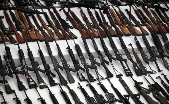 Seized weapons are displayed to the media by the Mexican Navy in Mexico City (Jorge Lopez/Courtesy Reuters).
