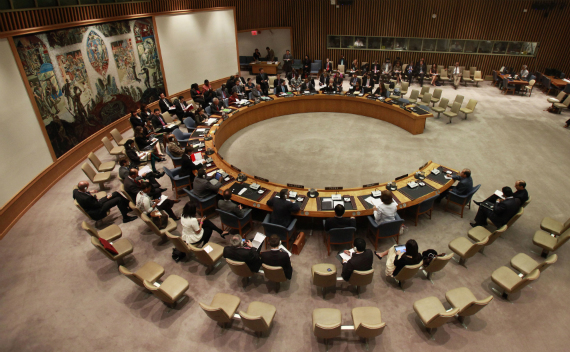 U.N. Security Council members meet on the situation in Libya at the United Nations headquarters in New York.