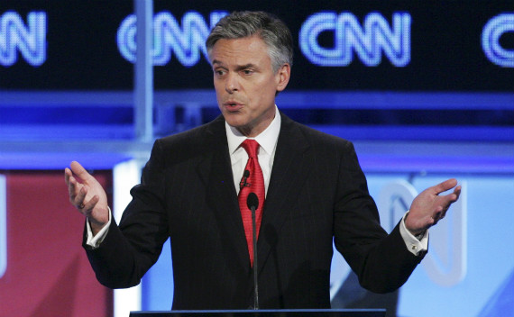 Jon Hunstman at a Republican debate in November. (Jonathan Ernst/courtesy Reuters)