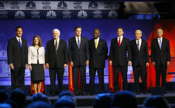 Republican candidates at last night's primary debate in Michigan. (Rebecca Cook/courtesy Reuters)