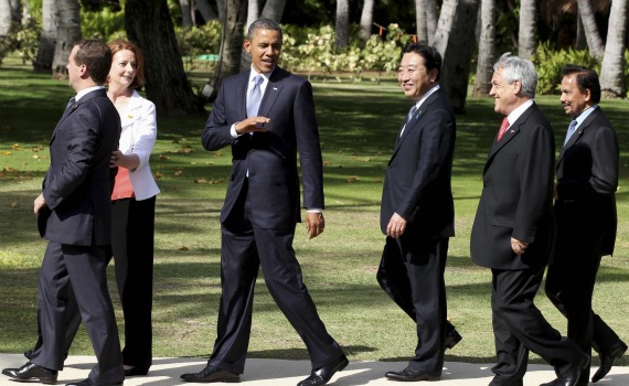 World leaders arrive to take family photo at the APEC Summit in Honolulu, Hawaii on November 13, 2011.