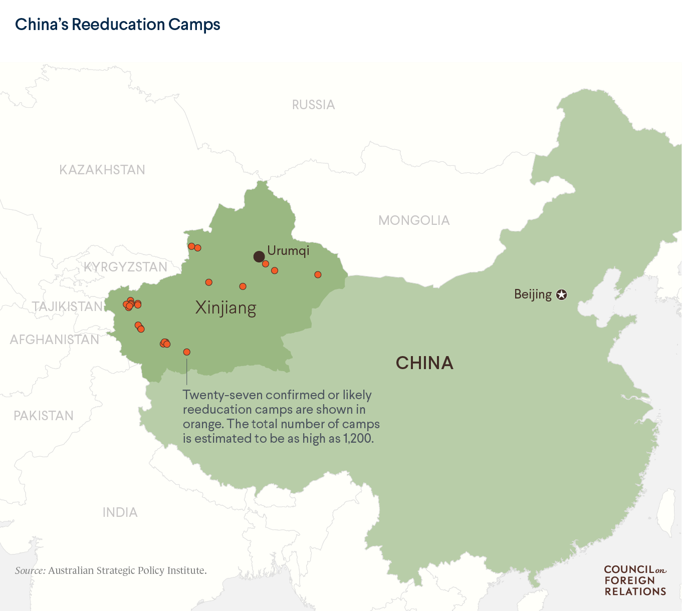 A map showing 27 reeducation camps in China's northwestern province of Xinjiang.