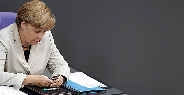 German chancellor Angela Merkel at the Bundestag.