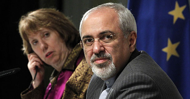 EU foreign policy chief Catherine Ashton and Iranian Foreign Minister Mohammad Javad Zarif at the end of the Iranian nuclear talks in Geneva.