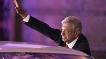 Leftist front-runner Andres Manuel Lopez Obrador of the National Regeneration Movement (MORENA) gestures while leaving the Palacio de Mineria after the first presidential debate in Mexico City, Mexico April 22, 2018.