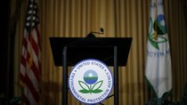 An empty podium awaits the arrival of U.S. Environmental Protection Agency (EPA) Acting Administrator Andrew Wheeler to address staff at EPA headquarters in Washington, U.S., July 11, 2018.