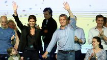 Argentina's President Macri, Fisrt Lady Awada and their daughter celebrate at their campaign headquarters...