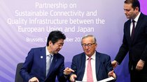 European Commission President Jean-Claude Juncker and Japan's Prime Minister Shinzo Abe attend the conference Communication Connecting Europe and Asia, in Brussels, Belgium September 27, 2019.