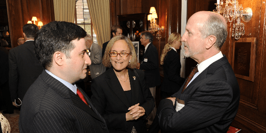 Mohamad Bazzi (2007-2008 Murrow fellow), Carla Robbins, and Christopher Dickey (1983-1984 Murrow fellow) at the Edward R. Murrow Press Fellowship 60th Anniversary Celebration