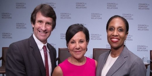 Edward Alden (CFR Bernard L. Schwartz Senior Fellow), Penny Pritzker (former U.S. Secretary of Commerce), and Laura Taylor-Kale (2017-2018 IAF)