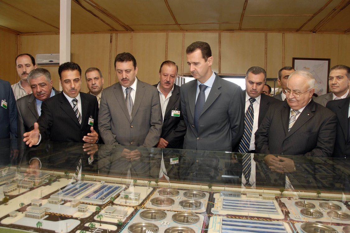 President Bashar al-Assad tours the industrial city of Hessya in 2007.