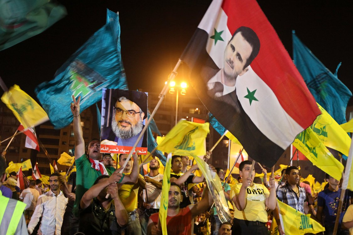 Hezbollah rally in the Beirut suburbs