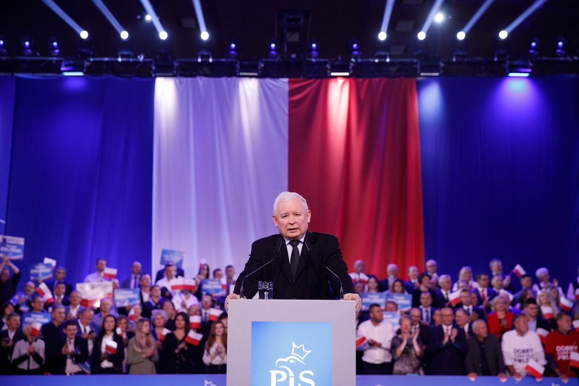 Leader of the PiS party Jaroslaw Kaczynski speaks in Chelm at the final convention of Polish parliamentary elections campaign
